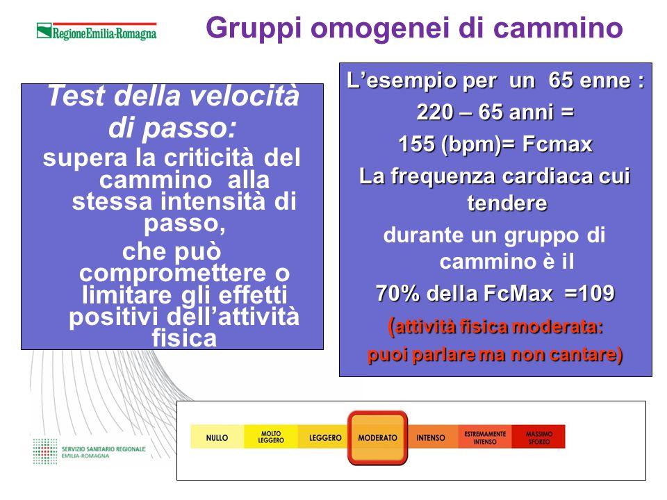 Gruppi omogenei di cammino Test della velocità di passo: supera la criticità del cammino alla stessa intensità di passo, che può compromettere o limit