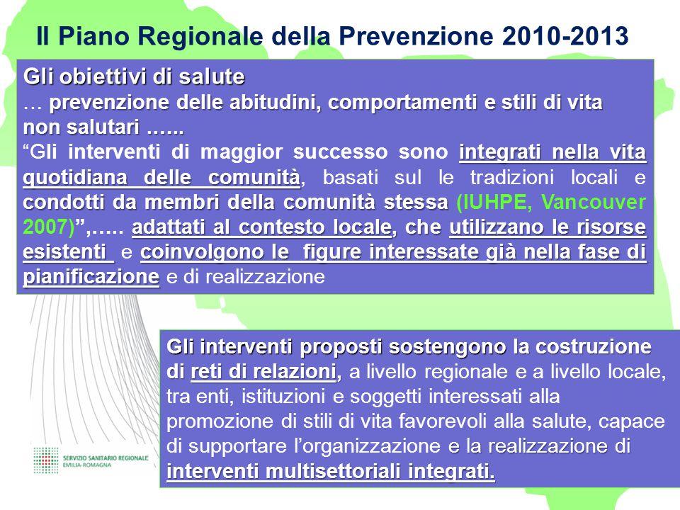 Il Piano Regionale della Prevenzione 2010-2013 - Gli obiettivi di salute prevenzione delle abitudini, comportamenti e stili di vita non salutari.….. …