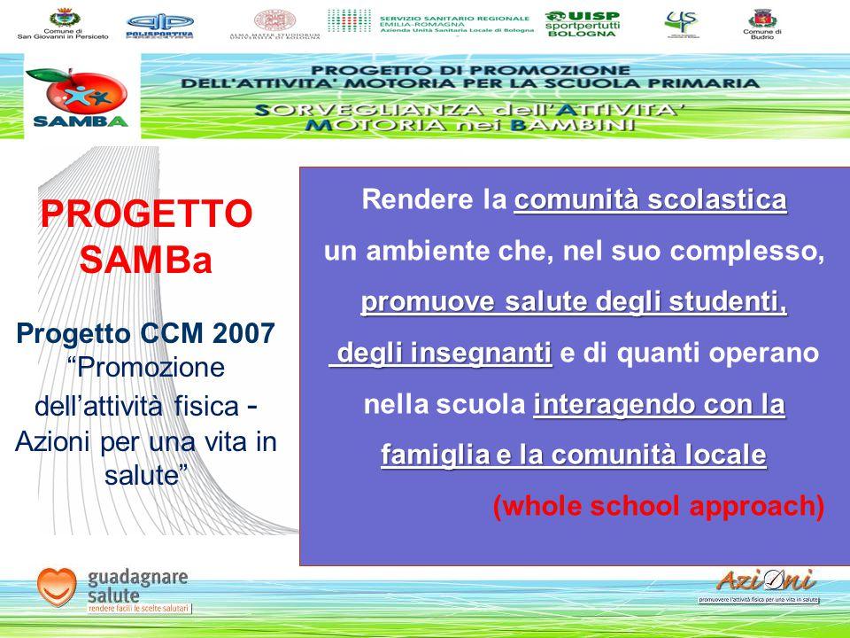 """PROGETTO SAMBa Progetto CCM 2007 """"Promozione dell'attività fisica - Azioni per una vita in salute"""" comunità scolastica Rendere la comunità scolastica"""
