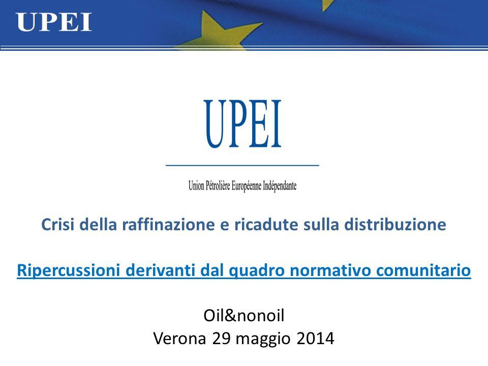 Crisi della raffinazione e ricadute sulla distribuzione Ripercussioni derivanti dal quadro normativo comunitario Oil&nonoil Verona 29 maggio 2014