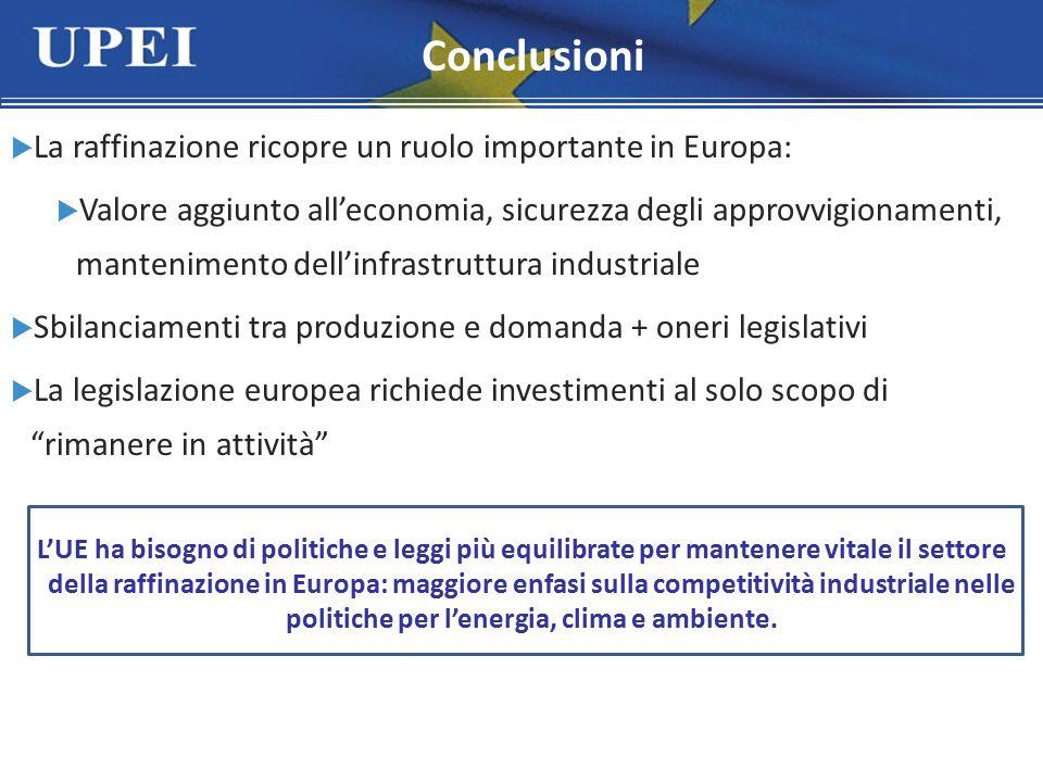  La raffinazione ricopre un ruolo importante in Europa:  Valore aggiunto all'economia, sicurezza degli approvvigionamenti, mantenimento dell'infrast