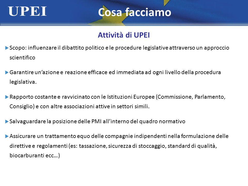 Attività di UPEI  Scopo: influenzare il dibattito politico e le procedure legislative attraverso un approccio scientifico  Garantire un'azione e reazione efficace ed immediata ad ogni livello della procedura legislativa.