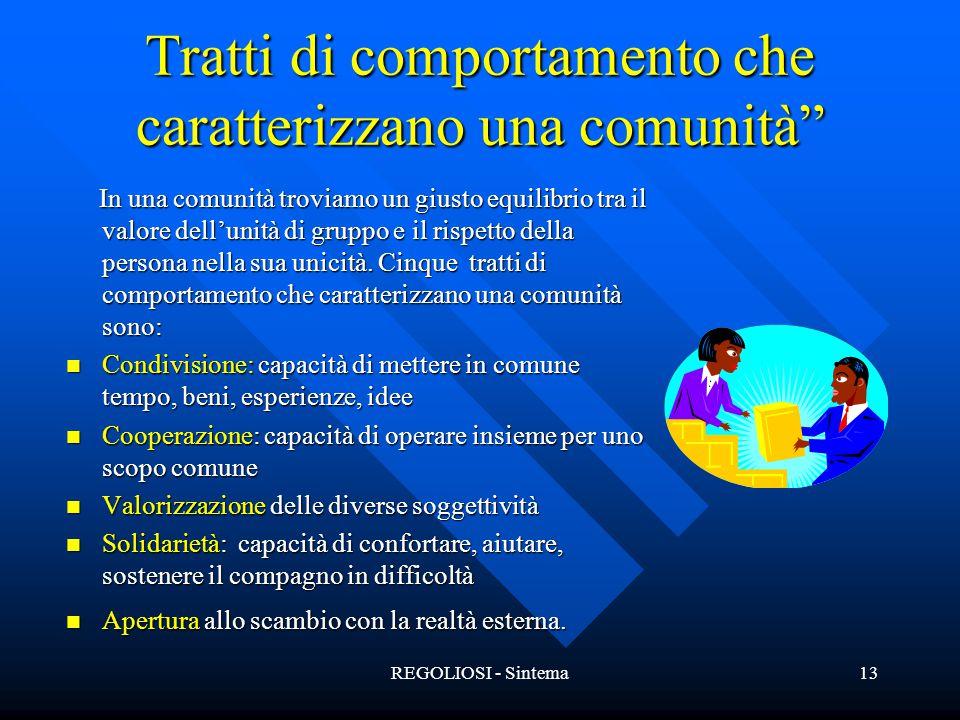 """REGOLIOSI - Sintema13 Tratti di comportamento che caratterizzano una comunità"""" In una comunità troviamo un giusto equilibrio tra il valore dell'unità"""