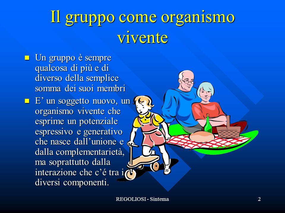 REGOLIOSI - Sintema2 Il gruppo come organismo vivente Un gruppo è sempre qualcosa di più e di diverso della semplice somma dei suoi membri Un gruppo è