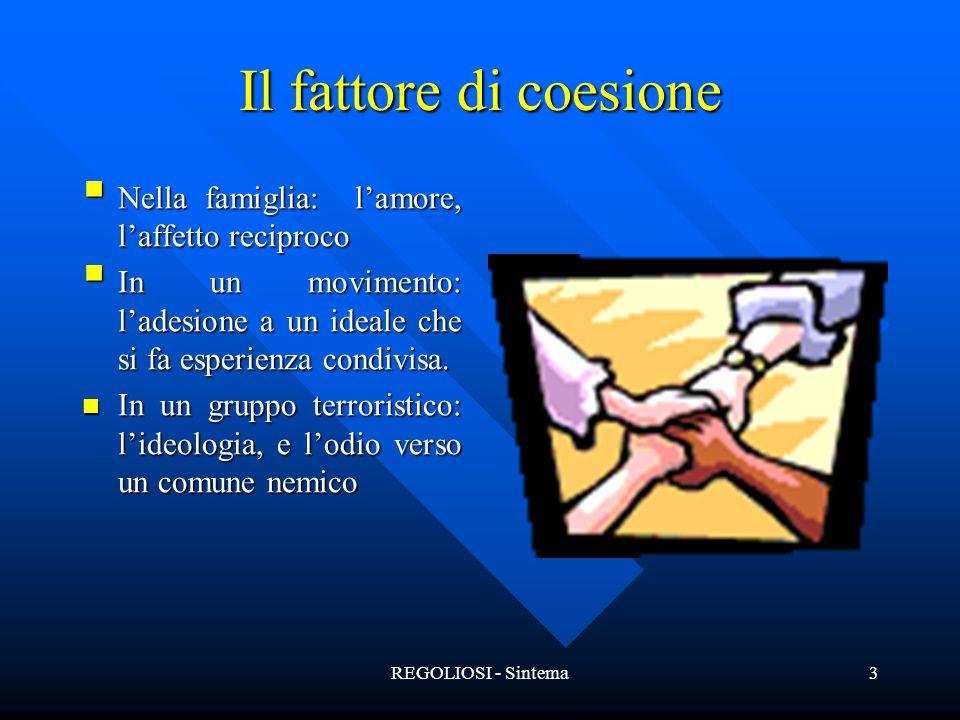 REGOLIOSI - Sintema3 Il fattore di coesione  Nella famiglia: l'amore, l'affetto reciproco  In un movimento: l'adesione a un ideale che si fa esperie