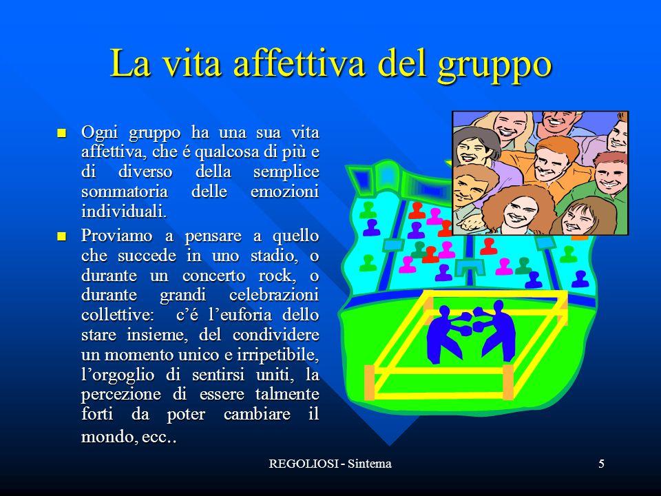 REGOLIOSI - Sintema5 La vita affettiva del gruppo Ogni gruppo ha una sua vita affettiva, che é qualcosa di più e di diverso della semplice sommatoria