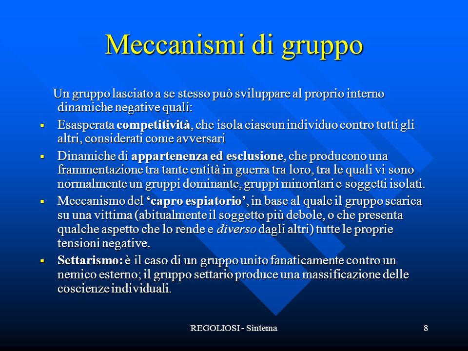 REGOLIOSI - Sintema8 Meccanismi di gruppo Un gruppo lasciato a se stesso può sviluppare al proprio interno dinamiche negative quali: Un gruppo lasciat