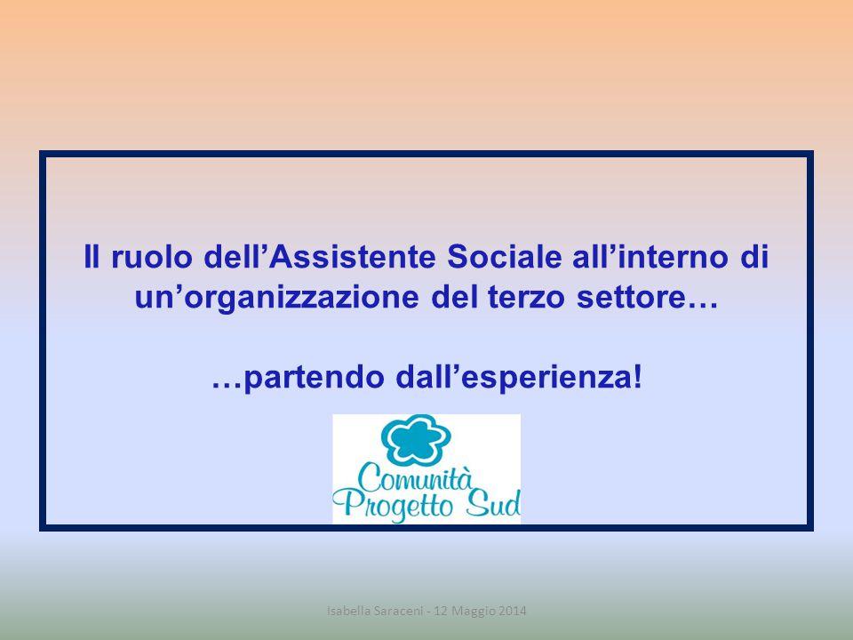 Il ruolo dell'Assistente Sociale all'interno di un'organizzazione del terzo settore… …partendo dall'esperienza! Isabella Saraceni - 12 Maggio 2014