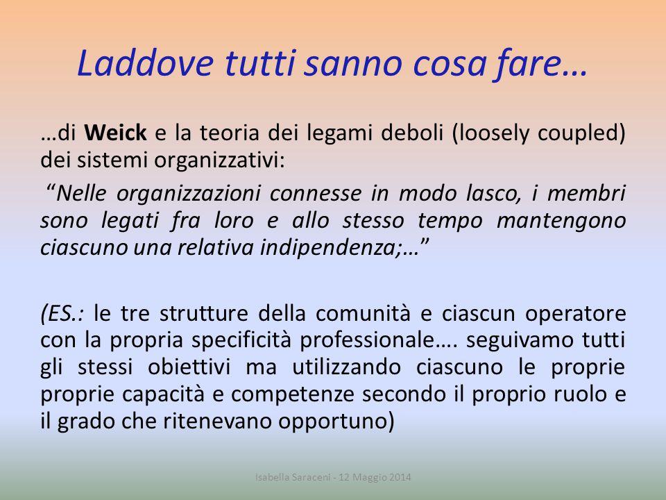"""Laddove tutti sanno cosa fare… …di Weick e la teoria dei legami deboli (loosely coupled) dei sistemi organizzativi: """"Nelle organizzazioni connesse in"""