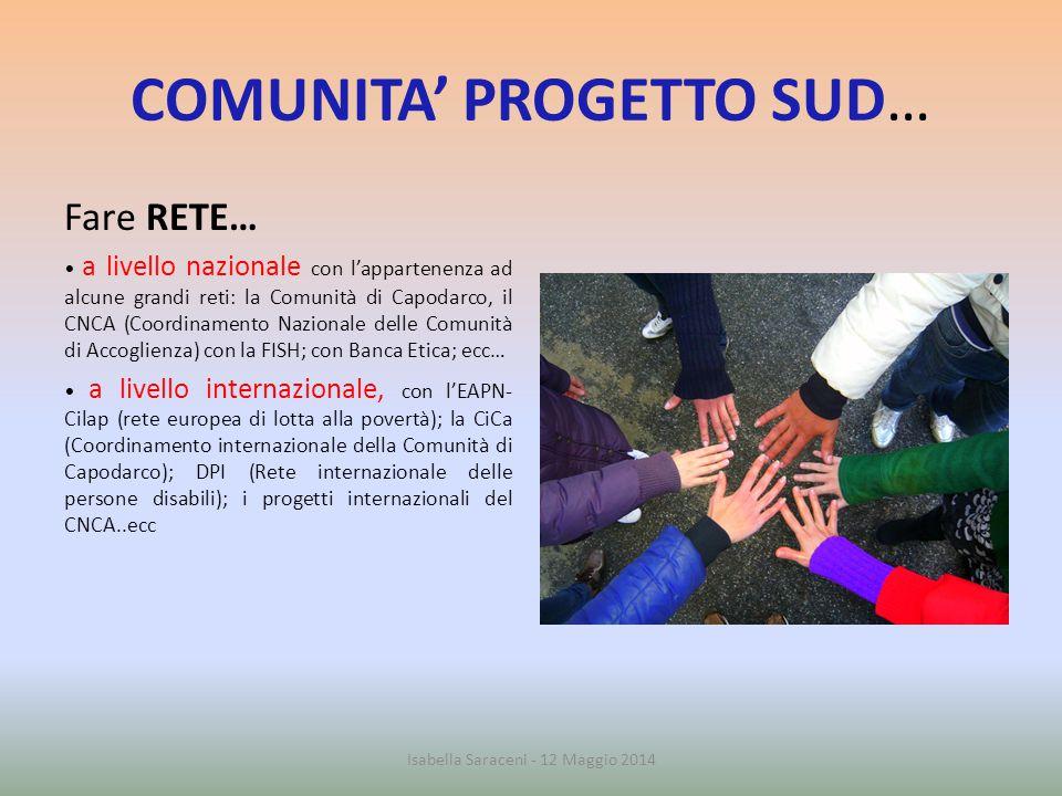 COMUNITA' PROGETTO SUD… Fare RETE… a livello nazionale con l'appartenenza ad alcune grandi reti: la Comunità di Capodarco, il CNCA (Coordinamento Nazi