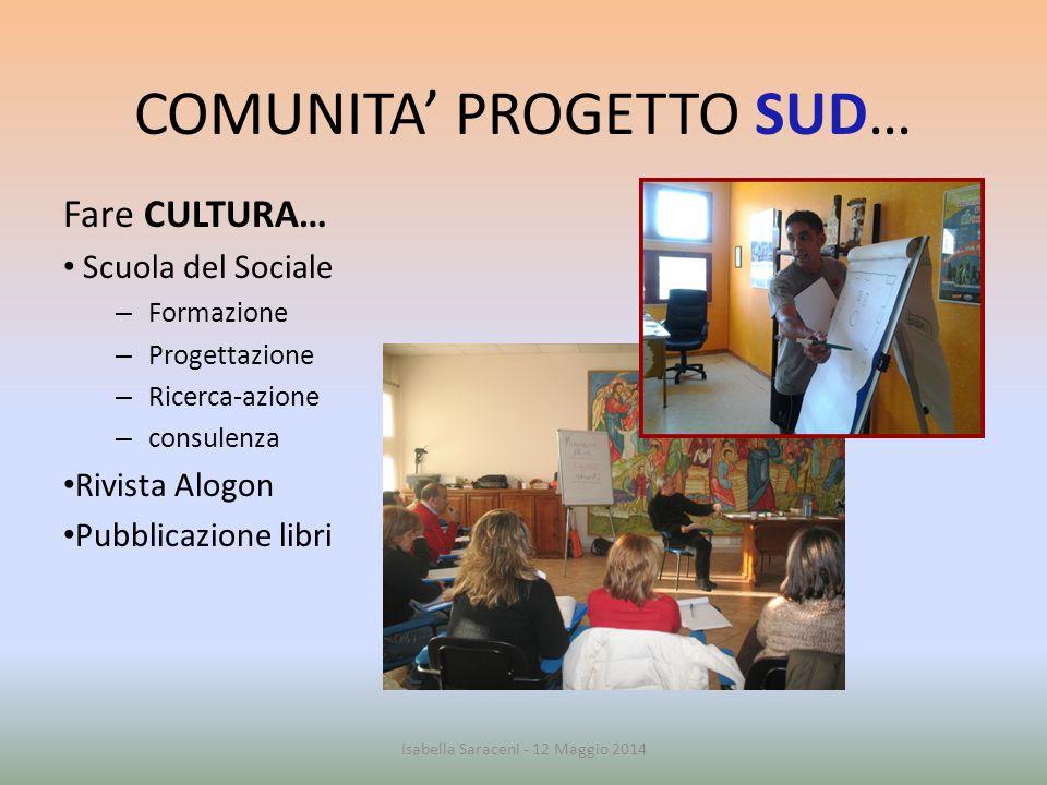 COMUNITA' PROGETTO SUD… Fare CULTURA… Scuola del Sociale – Formazione – Progettazione – Ricerca-azione – consulenza Rivista Alogon Pubblicazione libri