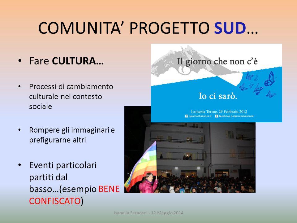COMUNITA' PROGETTO SUD… Fare CULTURA… Processi di cambiamento culturale nel contesto sociale Rompere gli immaginari e prefigurarne altri Eventi partic