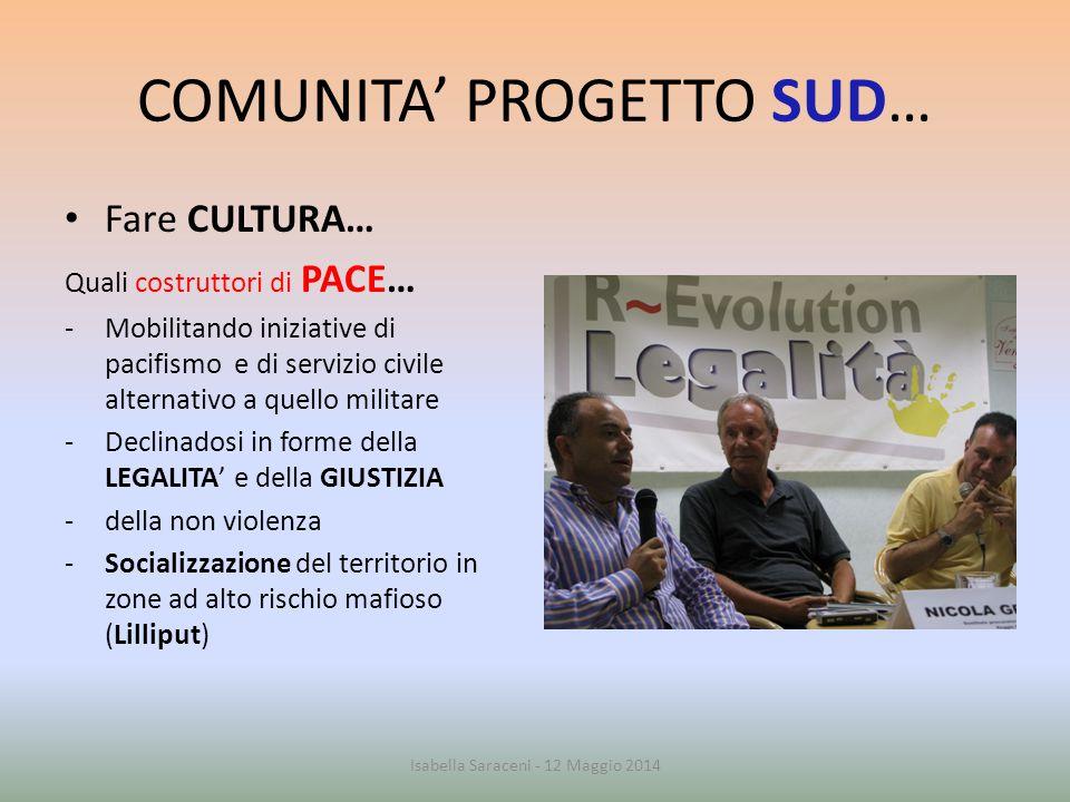COMUNITA' PROGETTO SUD… SGUARDI FUTURI… attivazione di nuovi processi… Costituzione di spazi pubblici in cui mettersi in gioco e riflettere… Nuovi gruppi/associazionismo Apertura all'Europa, al Mediterraneo ecc.