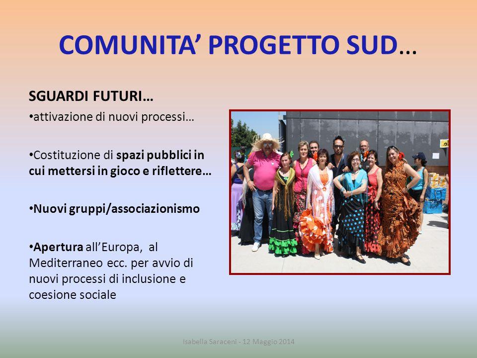 COMUNITA' PROGETTO SUD… SGUARDI FUTURI… attivazione di nuovi processi… Costituzione di spazi pubblici in cui mettersi in gioco e riflettere… Nuovi gru