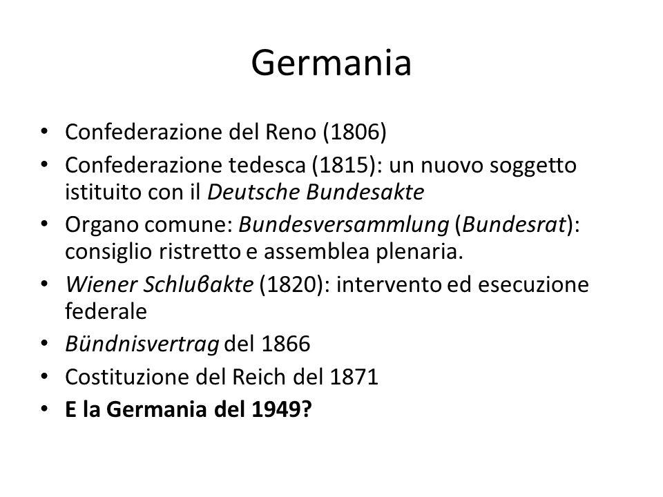 Germania Confederazione del Reno (1806) Confederazione tedesca (1815): un nuovo soggetto istituito con il Deutsche Bundesakte Organo comune: Bundesversammlung (Bundesrat): consiglio ristretto e assemblea plenaria.