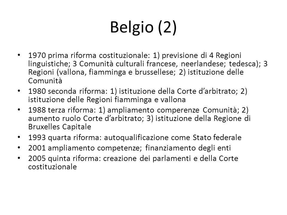 Belgio (2) 1970 prima riforma costituzionale: 1) previsione di 4 Regioni linguistiche; 3 Comunità culturali francese, neerlandese; tedesca); 3 Regioni (vallona, fiamminga e brussellese; 2) istituzione delle Comunità 1980 seconda riforma: 1) istituzione della Corte d'arbitrato; 2) istituzione delle Regioni fiamminga e vallona 1988 terza riforma: 1) ampliamento comperenze Comunità; 2) aumento ruolo Corte d'arbitrato; 3) istituzione della Regione di Bruxelles Capitale 1993 quarta riforma: autoqualificazione come Stato federale 2001 ampliamento competenze; finanziamento degli enti 2005 quinta riforma: creazione dei parlamenti e della Corte costituzionale