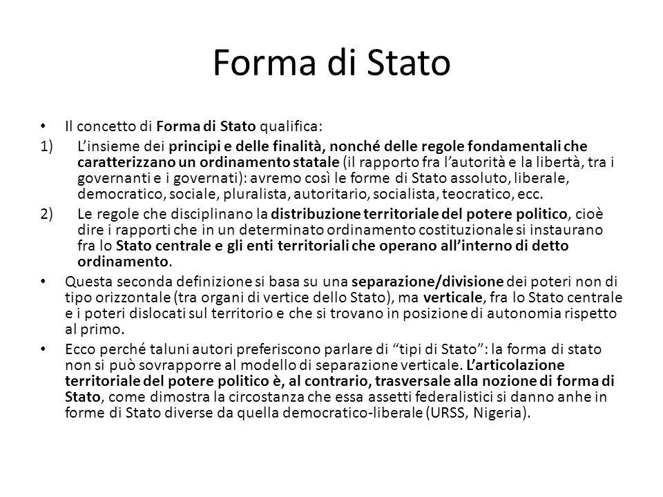 Forma di Stato Il concetto di Forma di Stato qualifica: 1)L'insieme dei principi e delle finalità, nonché delle regole fondamentali che caratterizzano