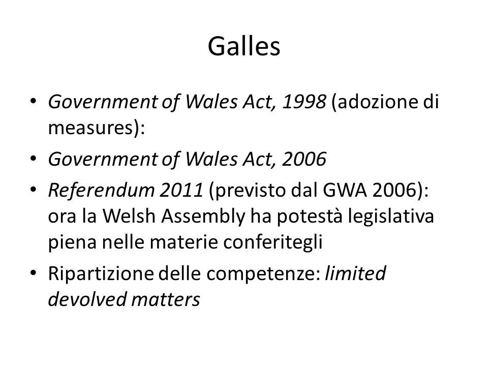 Galles Government of Wales Act, 1998 (adozione di measures): Government of Wales Act, 2006 Referendum 2011 (previsto dal GWA 2006): ora la Welsh Assembly ha potestà legislativa piena nelle materie conferitegli Ripartizione delle competenze: limited devolved matters