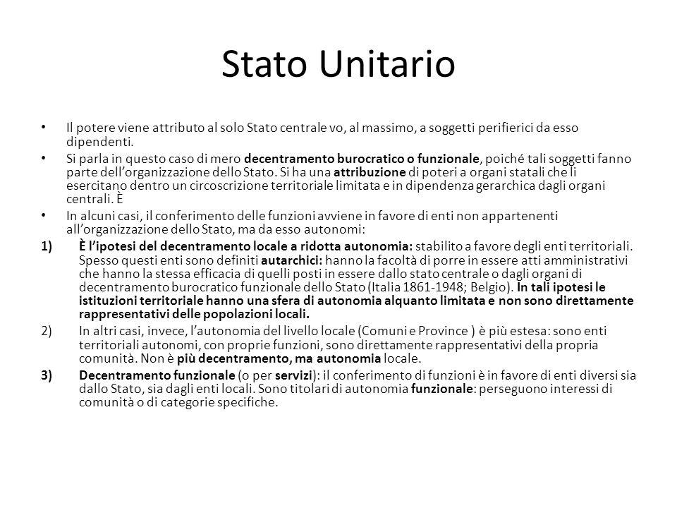 Stato Unitario Il potere viene attributo al solo Stato centrale vo, al massimo, a soggetti perifierici da esso dipendenti. Si parla in questo caso di