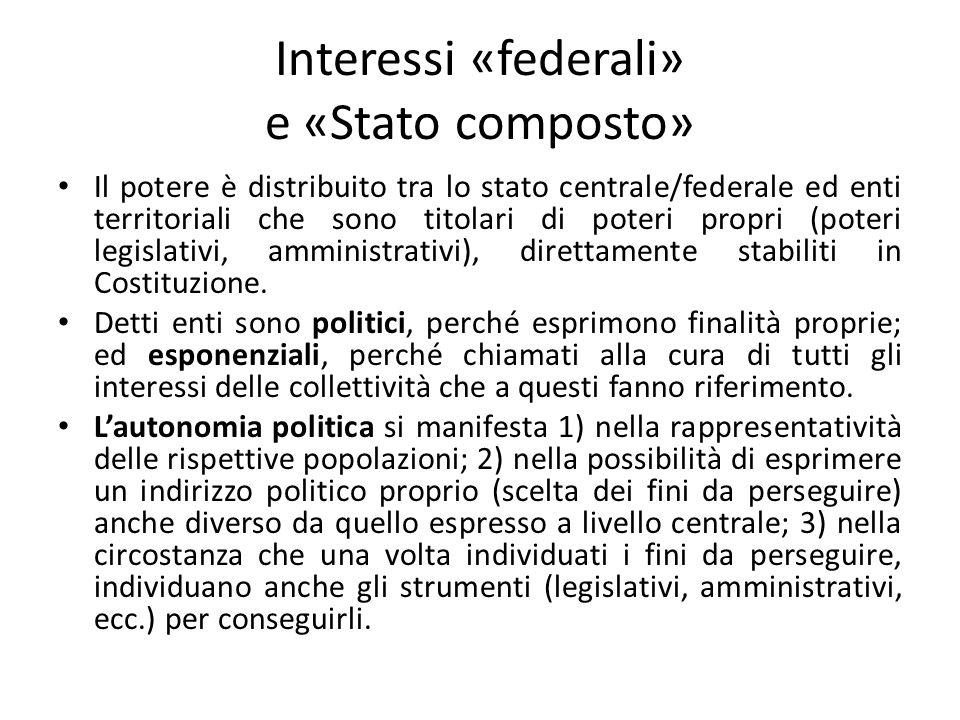Interessi «federali» e «Stato composto» Il potere è distribuito tra lo stato centrale/federale ed enti territoriali che sono titolari di poteri propri