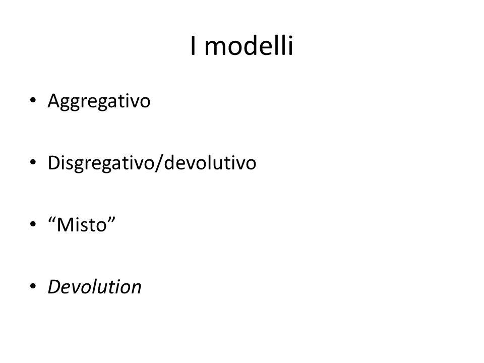 I modelli Aggregativo Disgregativo/devolutivo Misto Devolution
