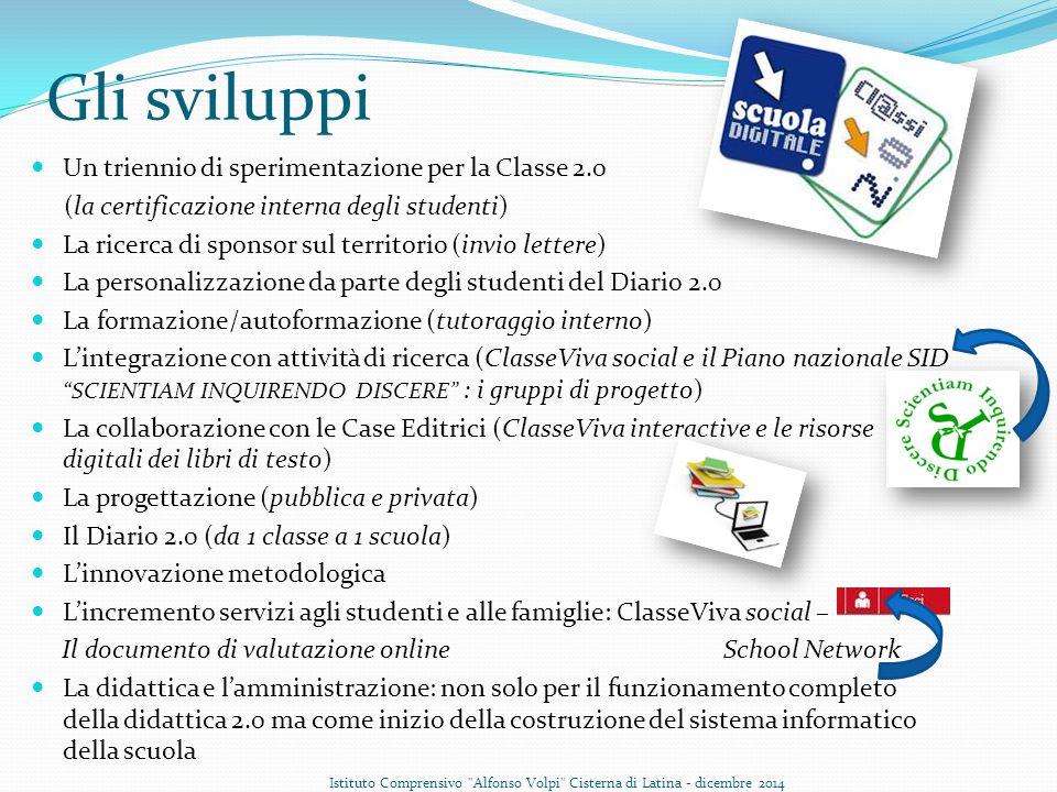 Gli sviluppi Un triennio di sperimentazione per la Classe 2.0 (la certificazione interna degli studenti) La ricerca di sponsor sul territorio (invio l