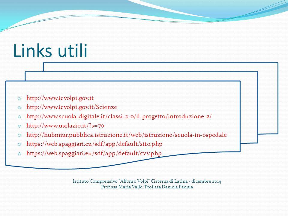 Links utili o http://www.icvolpi.gov.it o http://www.icvolpi.gov.it/Scienze o http://www.scuola-digitale.it/classi-2-0/il-progetto/introduzione-2/ o h