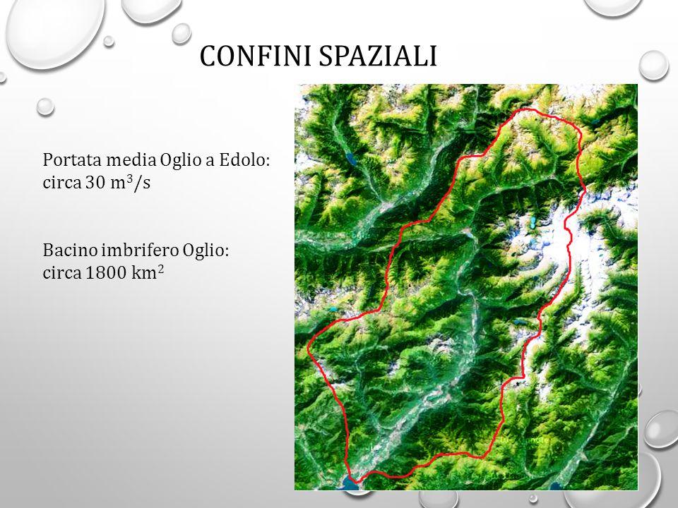 Portata media Oglio a Edolo: circa 30 m 3 /s Bacino imbrifero Oglio: circa 1800 km 2 CONFINI SPAZIALI