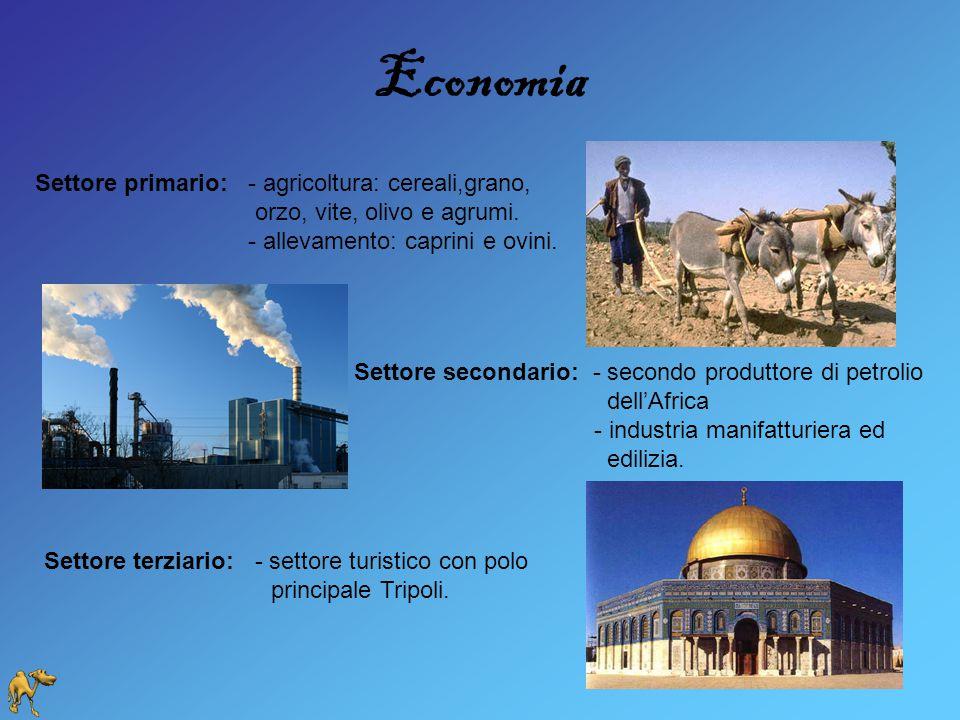 Economia Settore primario: - agricoltura: cereali,grano, orzo, vite, olivo e agrumi. - allevamento: caprini e ovini. Settore secondario: - secondo pro