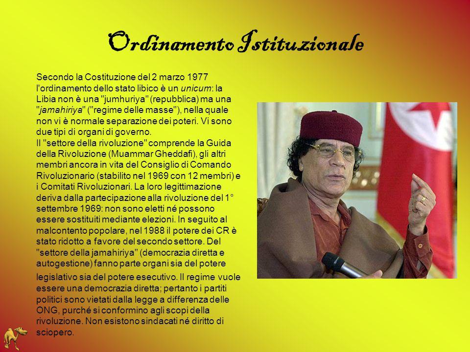 Ordinamento Istituzionale Secondo la Costituzione del 2 marzo 1977 l'ordinamento dello stato libico è un unicum: la Libia non è una