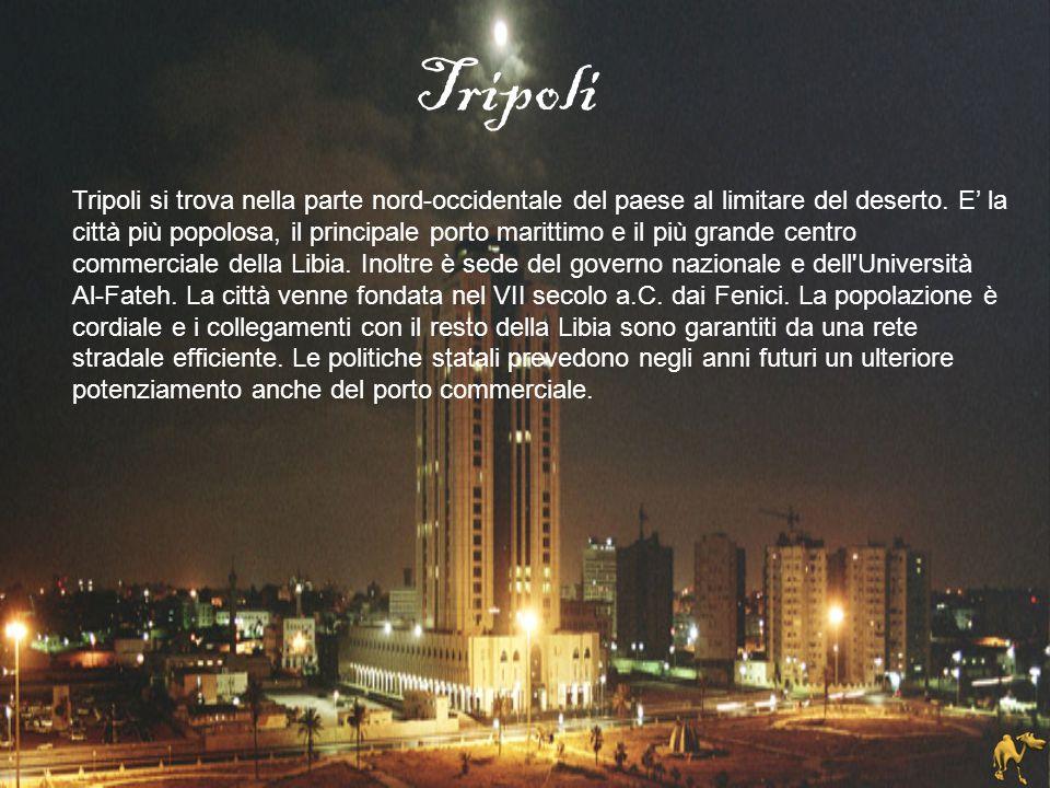 Tripoli si trova nella parte nord-occidentale del paese al limitare del deserto. E' la città più popolosa, il principale porto marittimo e il più gran