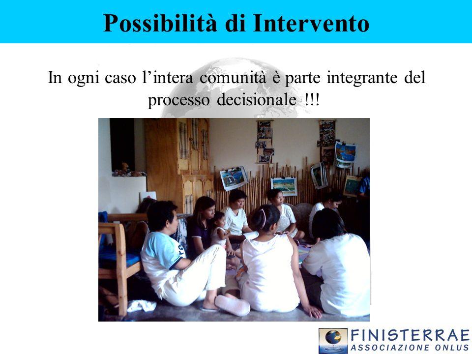 Possibilità di Intervento In ogni caso l'intera comunità è parte integrante del processo decisionale !!!
