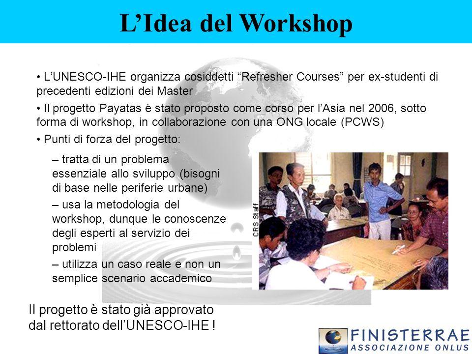 """L'UNESCO-IHE organizza cosiddetti """"Refresher Courses"""" per ex-studenti di precedenti edizioni dei Master Il progetto Payatas è stato proposto come cors"""