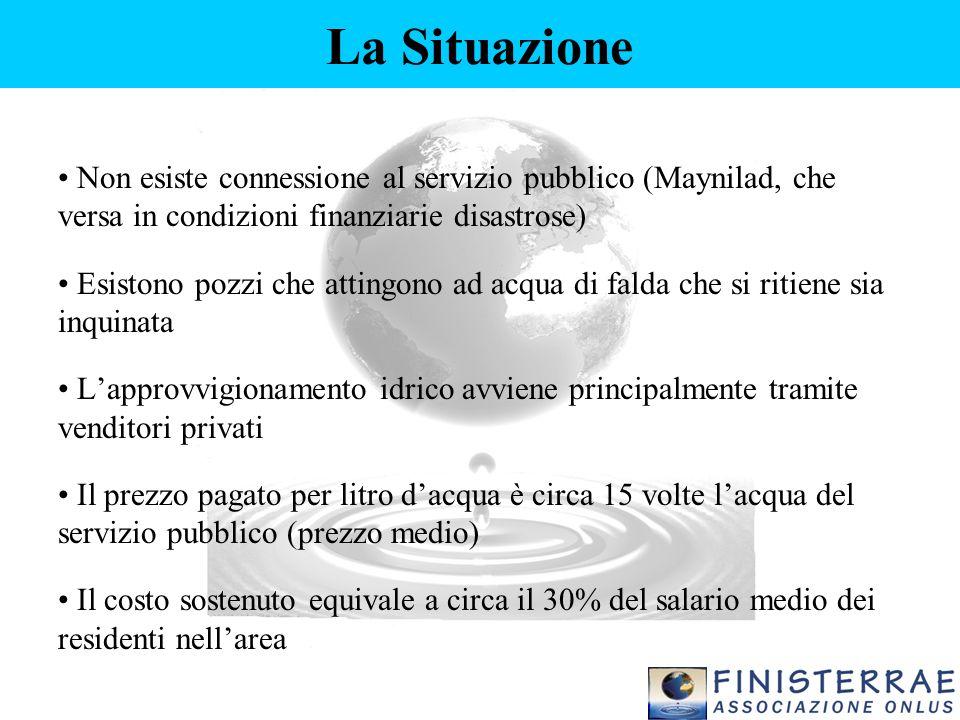 La Situazione Non esiste connessione al servizio pubblico (Maynilad, che versa in condizioni finanziarie disastrose) Esistono pozzi che attingono ad a