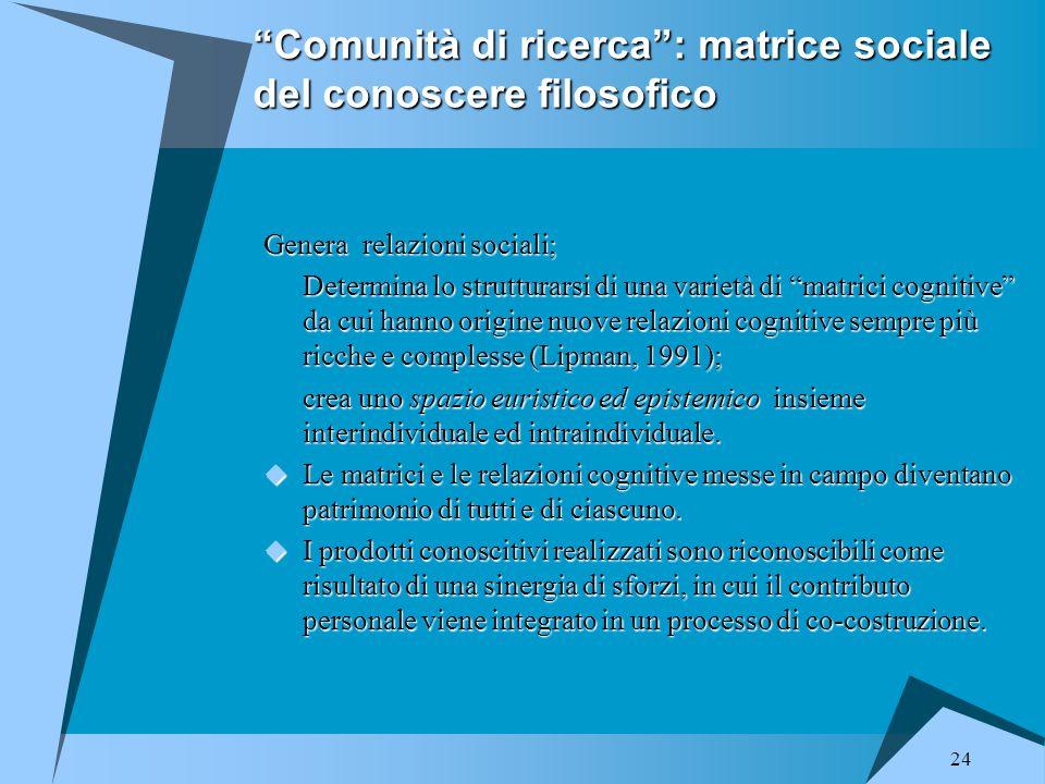 """24 """"Comunità di ricerca"""": matrice sociale del conoscere filosofico Genera relazioni sociali; Determina lo strutturarsi di una varietà di """"matrici cogn"""