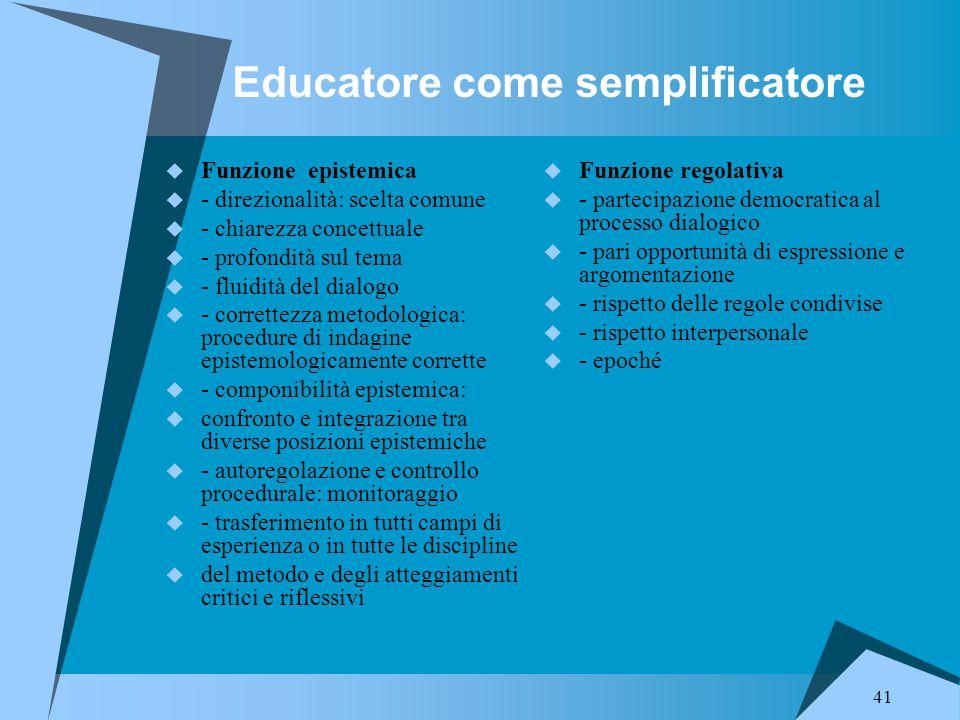 41 Educatore come semplificatore  Funzione epistemica  - direzionalità: scelta comune  - chiarezza concettuale  - profondità sul tema  - fluidità