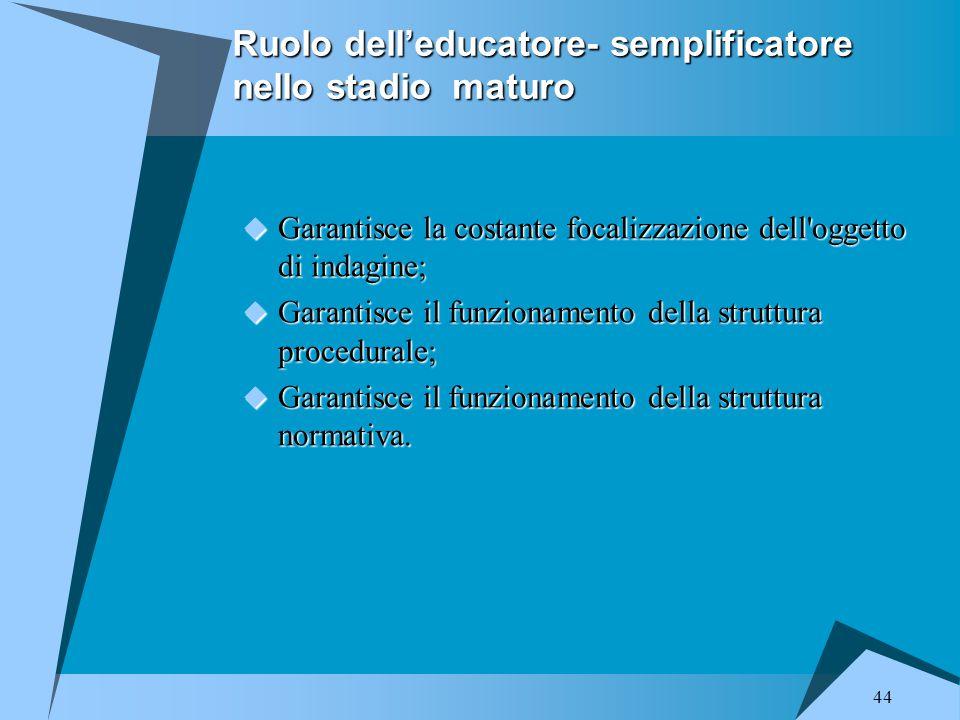 44 Ruolo dell'educatore- semplificatore nello stadio maturo  Garantisce la costante focalizzazione dell'oggetto di indagine;  Garantisce il funziona