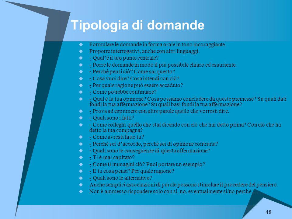 48 Tipologia di domande  Formulare le domande in forma orale in tono incoraggiante.  Proporre interrogativi, anche con altri linguaggi.  - Qual'è