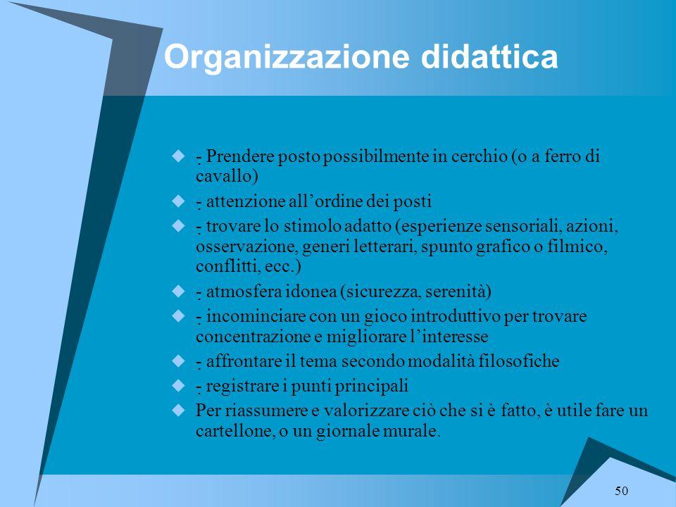 50 Organizzazione didattica  - Prendere posto possibilmente in cerchio (o a ferro di cavallo)  - attenzione all'ordine dei posti  - trovare lo s