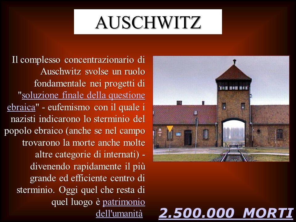 2.500.000 MORTI AUSCHWITZ Il complesso concentrazionario di Auschwitz svolse un ruolo fondamentale nei progetti di soluzione finale della questione ebraica - eufemismo con il quale i nazisti indicarono lo sterminio del popolo ebraico (anche se nel campo trovarono la morte anche molte altre categorie di internati) - divenendo rapidamente il più grande ed efficiente centro di sterminio.