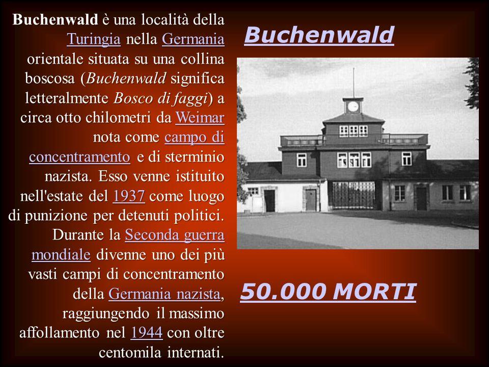Buchenwald 50.000 MORTI Buchenwald è una località della Turingia nella Germania orientale situata su una collina boscosa (Buchenwald significa letteralmente Bosco di faggi) a circa otto chilometri da Weimar nota come campo di concentramento e di sterminio nazista.