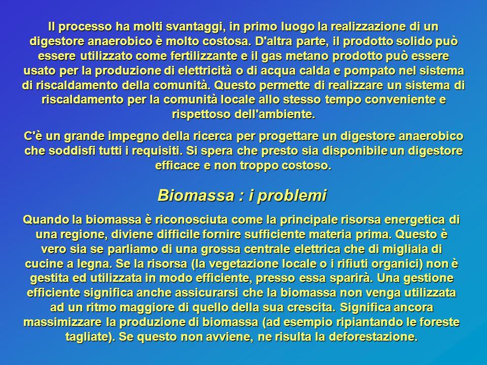 Biomassa : i problemi Quando la biomassa è riconosciuta come la principale risorsa energetica di una regione, diviene difficile fornire sufficiente ma