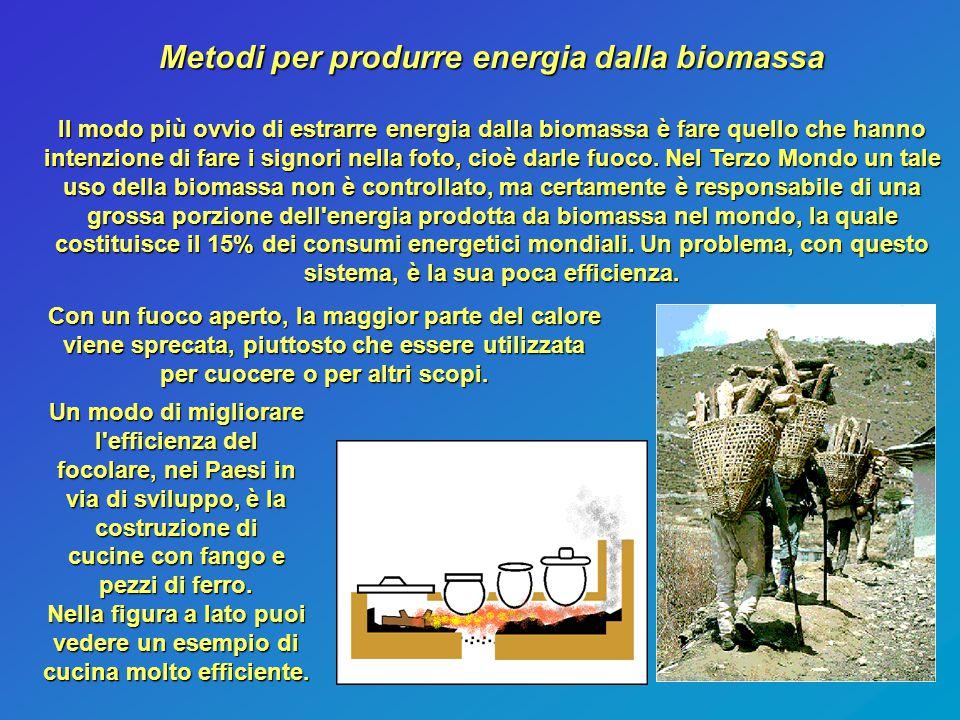 Metodi per produrre energia dalla biomassa Il modo più ovvio di estrarre energia dalla biomassa è fare quello che hanno intenzione di fare i signori n