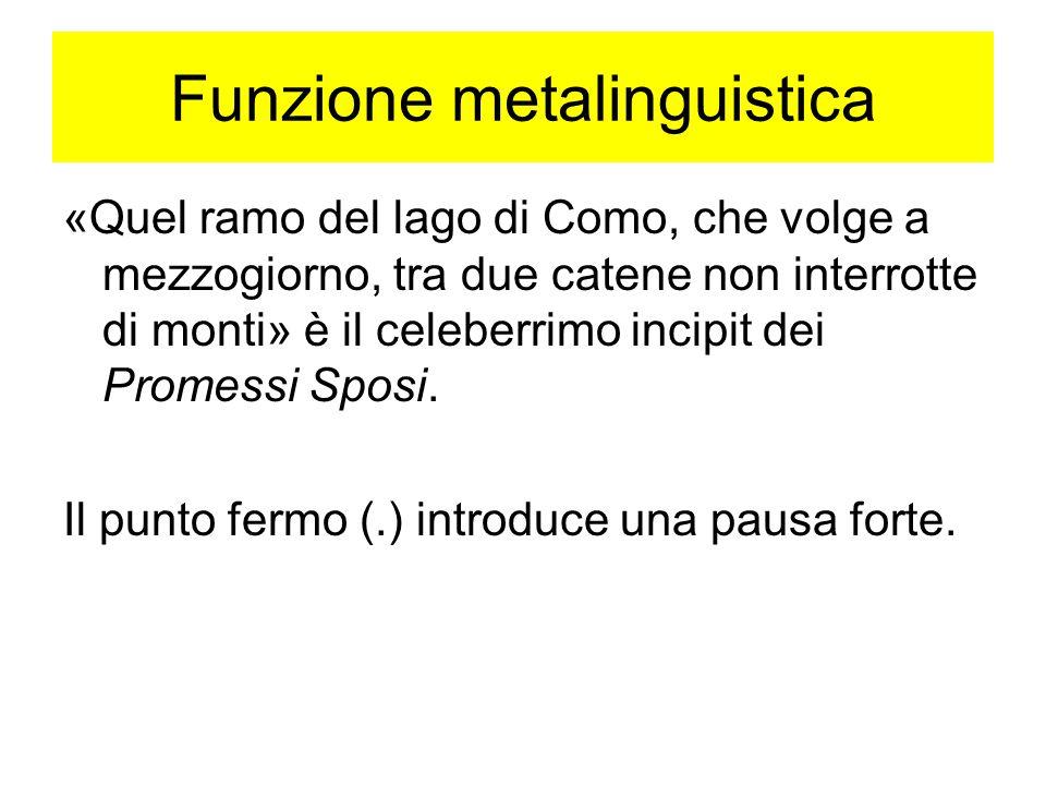Funzione metalinguistica «Quel ramo del lago di Como, che volge a mezzogiorno, tra due catene non interrotte di monti» è il celeberrimo incipit dei Pr