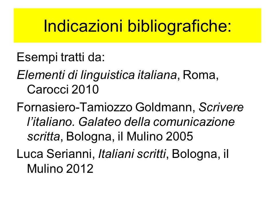 Indicazioni bibliografiche: Esempi tratti da: Elementi di linguistica italiana, Roma, Carocci 2010 Fornasiero-Tamiozzo Goldmann, Scrivere l'italiano.