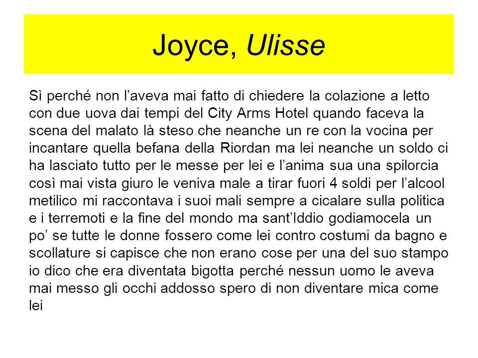 Joyce, Ulisse Sì perché non l'aveva mai fatto di chiedere la colazione a letto con due uova dai tempi del City Arms Hotel quando faceva la scena del m