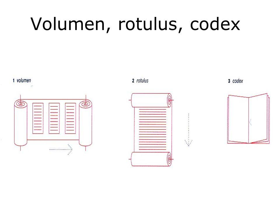 Volumen, rotulus, codex