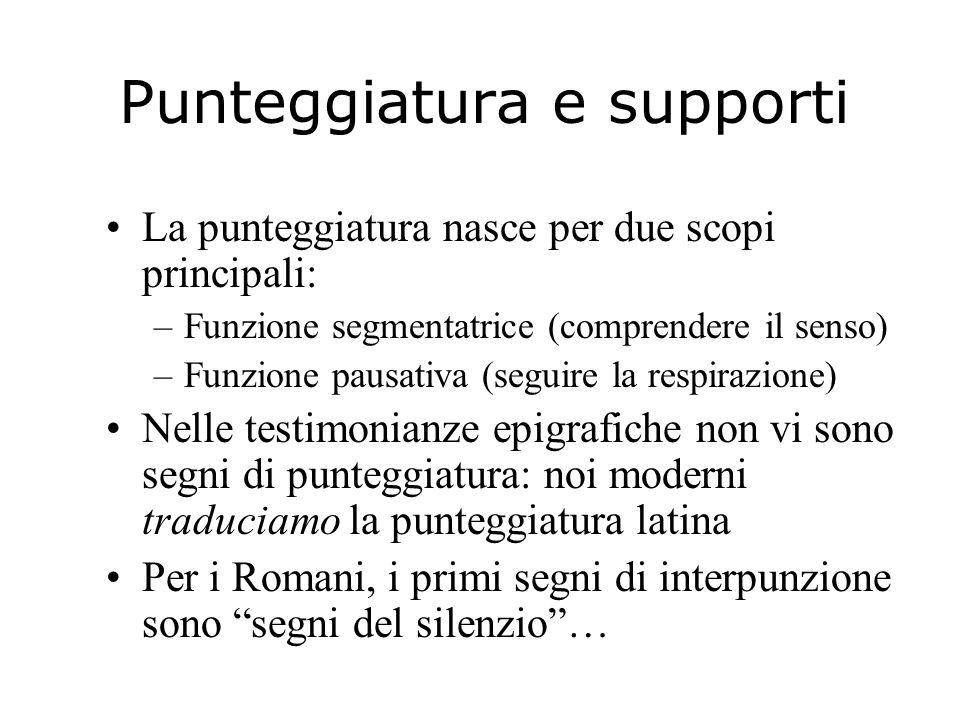 Punteggiatura e supporti La punteggiatura nasce per due scopi principali: –Funzione segmentatrice (comprendere il senso) –Funzione pausativa (seguire
