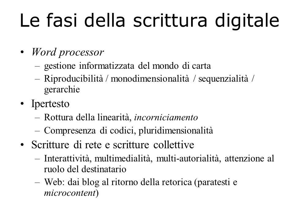 Le fasi della scrittura digitale Word processor –gestione informatizzata del mondo di carta –Riproducibilità / monodimensionalità / sequenzialità / ge