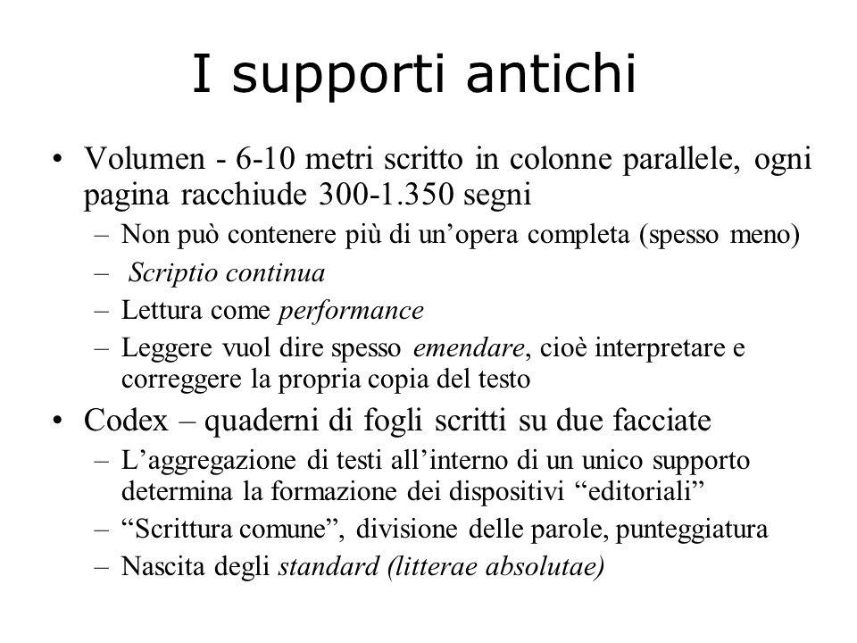 I supporti antichi Volumen - 6-10 metri scritto in colonne parallele, ogni pagina racchiude 300-1.350 segni –Non può contenere più di un'opera complet